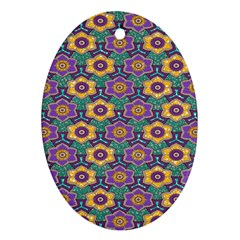 African Fabric Flower Green Purple Oval Ornament (two Sides) by Alisyart