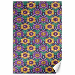 African Fabric Flower Green Purple Canvas 24  X 36  by Alisyart