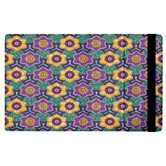 African Fabric Flower Green Purple Apple Ipad 2 Flip Case by Alisyart