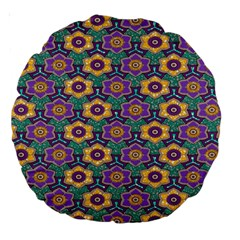 African Fabric Flower Green Purple Large 18  Premium Round Cushions by Alisyart