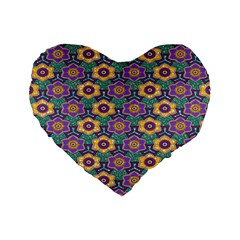 African Fabric Flower Green Purple Standard 16  Premium Flano Heart Shape Cushions by Alisyart