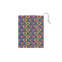 African Fabric Flower Green Purple Drawstring Pouches (xs)  by Alisyart
