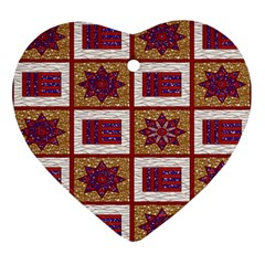African Fabric Star Plaid Gold Blue Red Ornament (heart) by Alisyart