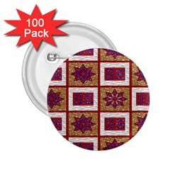 African Fabric Star Plaid Gold Blue Red 2 25  Buttons (100 Pack)  by Alisyart