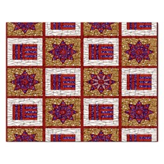 African Fabric Star Plaid Gold Blue Red Rectangular Jigsaw Puzzl by Alisyart