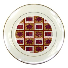 African Fabric Star Plaid Gold Blue Red Porcelain Plates by Alisyart