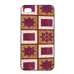 African Fabric Star Plaid Gold Blue Red Apple Iphone 4/4s Seamless Case (black)