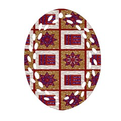 African Fabric Star Plaid Gold Blue Red Ornament (oval Filigree)
