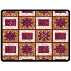 African Fabric Star Plaid Gold Blue Red Double Sided Fleece Blanket (large)  by Alisyart