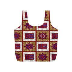 African Fabric Star Plaid Gold Blue Red Full Print Recycle Bags (s)