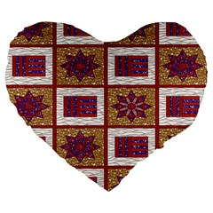 African Fabric Star Plaid Gold Blue Red Large 19  Premium Flano Heart Shape Cushions by Alisyart