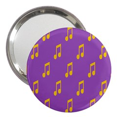 Eighth Note Music Tone Yellow Purple 3  Handbag Mirrors by Alisyart