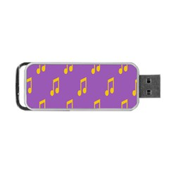 Eighth Note Music Tone Yellow Purple Portable Usb Flash (two Sides) by Alisyart