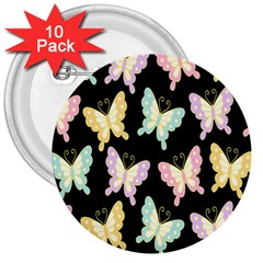 Butterfly Fly Gold Pink Blue Purple Black 3  Buttons (10 Pack)  by Alisyart