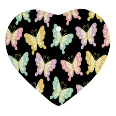 Butterfly Fly Gold Pink Blue Purple Black Heart Ornament (two Sides) by Alisyart