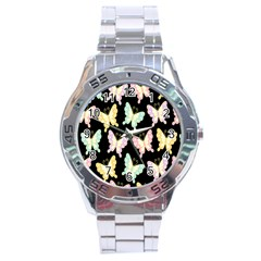 Butterfly Fly Gold Pink Blue Purple Black Stainless Steel Analogue Watch by Alisyart