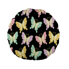 Butterfly Fly Gold Pink Blue Purple Black Standard 15  Premium Round Cushions by Alisyart
