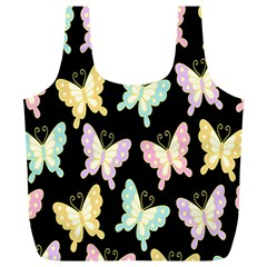 Butterfly Fly Gold Pink Blue Purple Black Full Print Recycle Bags (l)  by Alisyart