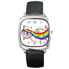 Color Music Notes Square Metal Watch by Alisyart