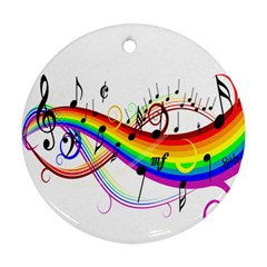 Color Music Notes Round Ornament (two Sides) by Alisyart