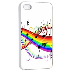 Color Music Notes Apple Iphone 4/4s Seamless Case (white) by Alisyart