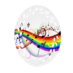 Color Music Notes Oval Filigree Ornament (two Sides) by Alisyart