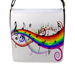 Color Music Notes Flap Messenger Bag (l)  by Alisyart