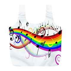 Color Music Notes Full Print Recycle Bags (l)