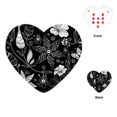 Floral Flower Rose Black Leafe Playing Cards (heart)  by Alisyart
