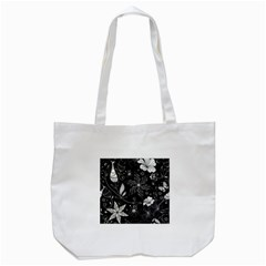 Floral Flower Rose Black Leafe Tote Bag (white) by Alisyart