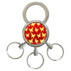 Butterfly Gold Red Yellow Animals Fly 3 Ring Key Chains by Alisyart