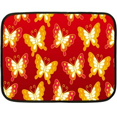 Butterfly Gold Red Yellow Animals Fly Fleece Blanket (mini) by Alisyart