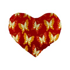 Butterfly Gold Red Yellow Animals Fly Standard 16  Premium Heart Shape Cushions by Alisyart