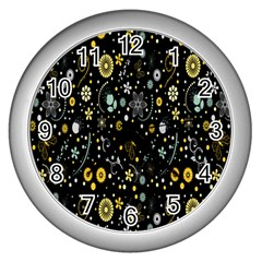 Floral And Butterfly Black Spring Wall Clocks (silver)  by Alisyart