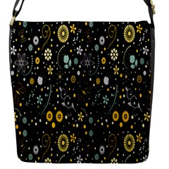 Floral And Butterfly Black Spring Flap Messenger Bag (s) by Alisyart