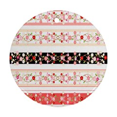 Flower Arrangements Season Floral Rose Pink Black Round Ornament (two Sides) by Alisyart