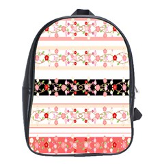 Flower Arrangements Season Floral Rose Pink Black School Bags (xl)  by Alisyart