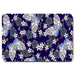 Butterfly Iron Chains Blue Purple Animals White Fly Floral Flower Large Doormat  by Alisyart