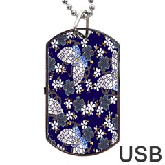 Butterfly Iron Chains Blue Purple Animals White Fly Floral Flower Dog Tag Usb Flash (two Sides) by Alisyart