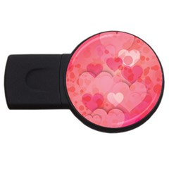 Hearts Pink Background Usb Flash Drive Round (2 Gb) by Amaryn4rt