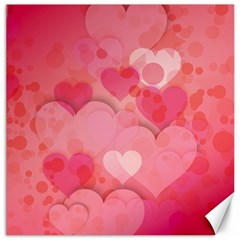 Hearts Pink Background Canvas 16  X 16   by Amaryn4rt