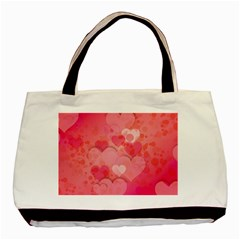 Hearts Pink Background Basic Tote Bag (two Sides) by Amaryn4rt