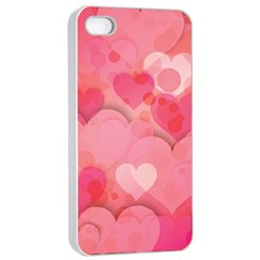 Hearts Pink Background Apple Iphone 4/4s Seamless Case (white)