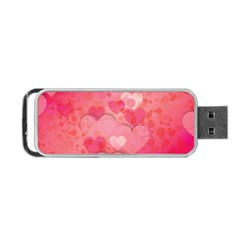 Hearts Pink Background Portable Usb Flash (one Side)