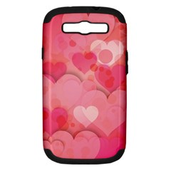 Hearts Pink Background Samsung Galaxy S Iii Hardshell Case (pc+silicone)