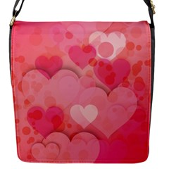 Hearts Pink Background Flap Messenger Bag (s) by Amaryn4rt