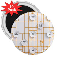 Icon Media Social Network 3  Magnets (10 Pack)
