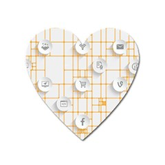 Icon Media Social Network Heart Magnet
