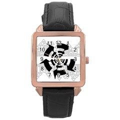 Arrows Top Below Circuit Parts Rose Gold Leather Watch  by Amaryn4rt