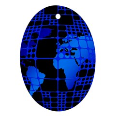 Network Networking Europe Asia Oval Ornament (Two Sides)